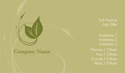 Green and Tan Vines Business Card Template